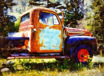 Truck Digital Art - Rusted Old Dodge Pickup Truck by Janine Riley