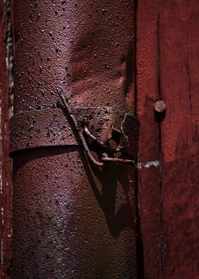 Rusted Pipe And Red Barn 2 Print by Rebecca Sherman