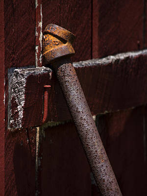 Rusted Pipe And Red Barn Print by Rebecca Sherman