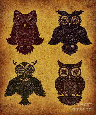 Lino-cut Digital Art - Rustic Aged 4 Owls by Kyle Wood