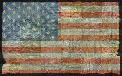 Rustic American Flag Print by Michelle Calkins