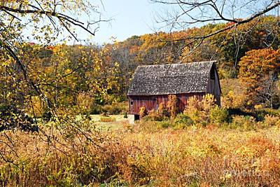 Autumn Photograph - Rustic Barn In Autumn by Larry Ricker