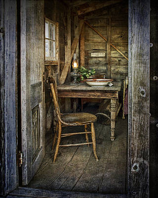Rustic Doorway With Vintage Chair And Table Setting With Oil Lamp Print by Randall Nyhof