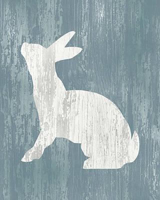 Rabbit Digital Art - Rustic Rabbit On Wood by Flo Karp