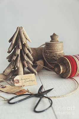 Rustic Twine And Ribbon For Wrapping Gifts Print by Sandra Cunningham