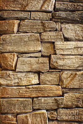 Charming Cottage Digital Art - Rustic Warm Stone Wall Art by Ella Kaye Dickey