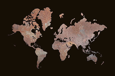 Australia Digital Art - Rustic World Map by Lori Deiter