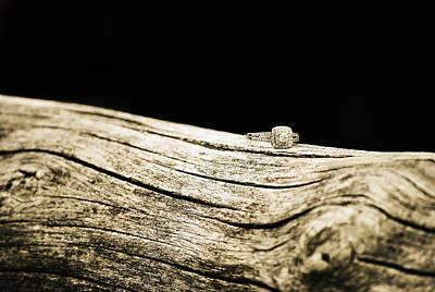 Diamond Engagement Ring Photograph - Rustic Yet Elegant Diamond Ring  by Chastity Hoff