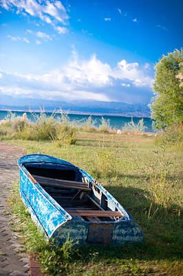 Rusty Blue Boat Print by Sofia Walker