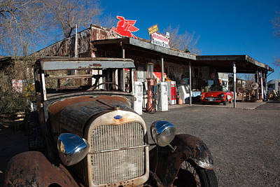 Rusty Car At Old Route 66 Visitor Print by Panoramic Images