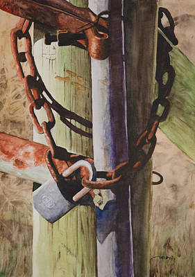 Rust Painting - Rusty Fence Gate by Christopher Reid