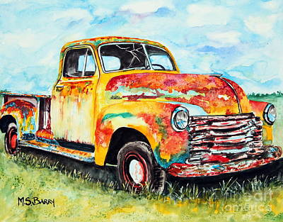 Old Trucks Painting - Rusty Old Truck by Maria Barry