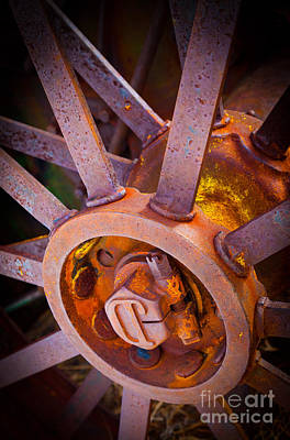 Machinery Photograph - Rusty Spokes by Inge Johnsson