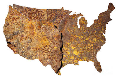 Rusty Usa Map Print by Tony Cordoza