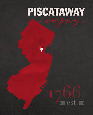Knight Mixed Media - Rutgers University Scarlet Knights Piscataway Nj College Town State Map Poster Series No 092 by Design Turnpike