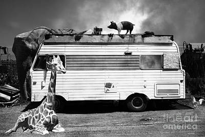 Rv Trailer Park 5d22705 Black And White Print by Wingsdomain Art and Photography