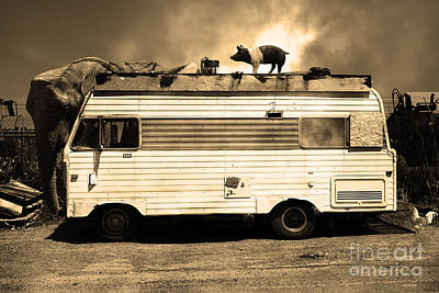 Surreal Photograph - Rv Trailer Park 5d22705 Sepia V2 by Wingsdomain Art and Photography