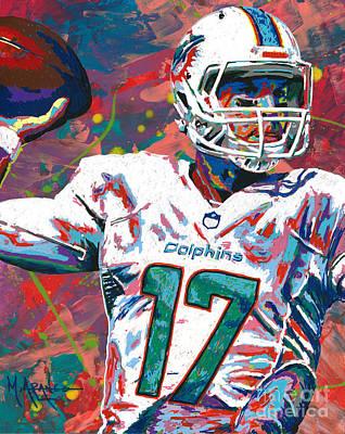 Nfl Sports Painting - Ryan Tannehill by Maria Arango