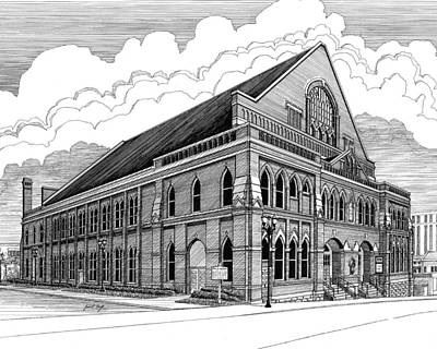 Nashville Drawing - Ryman Auditorium In Nashville Tn by Janet King