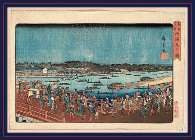 Fireworks Drawing - Ryogoku Hanabi No Zu by Utagawa Hiroshige Also And? Hiroshige (1797-1858), Japanese