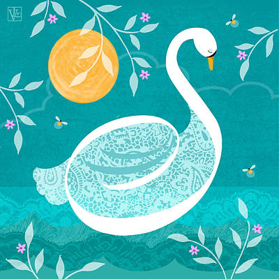 S Is For Swan Print by Valerie Drake Lesiak