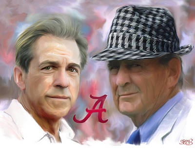Alabama Painting - Saban And Bear by Mark Spears