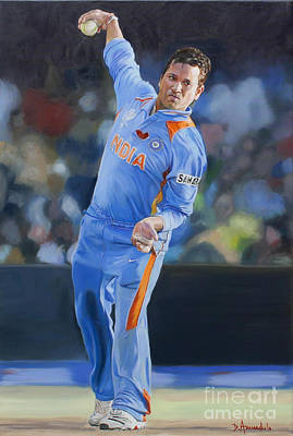 Sachin Tendulkar Throwing The Ball  Original by Dominique Amendola