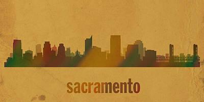 Sacramento California City Skyline Watercolor On Parchment Print by Design Turnpike