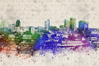 Sacramento City Skyline Print by Aged Pixel