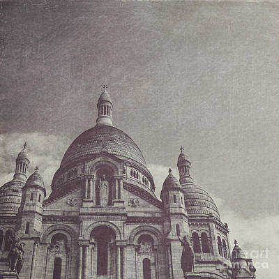 Square Photograph - Sacre Coeur In Black And White by Maren Misner