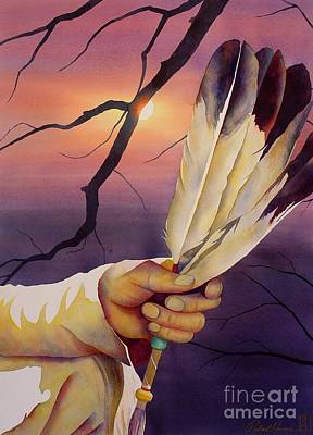 Native American Watercolor Painting - Sacred Feathers by Robert Hooper