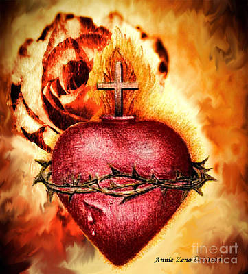 Sacred Heart Of Jesus Christ With Rose Print by Annie Zeno