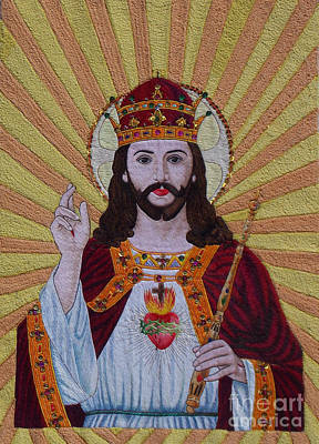 Sacred Heart Of Jesus Hand Embroidery Print by To-Tam Gerwe