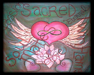 Twin Flame Painting - Sacred Soulmates And Twin Flames by Absinthe Art By Michelle LeAnn Scott