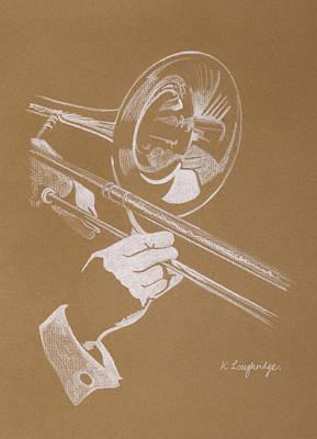Trombone Pastel - Sacred Trombone by Karen  Loughridge KLArt