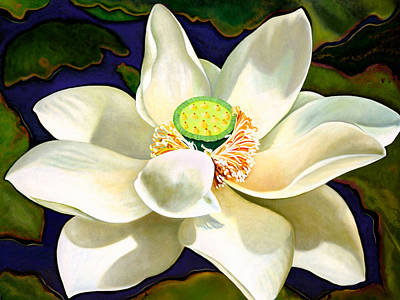 Tantra Painting - Sacred White Lotus by Paula Ferree