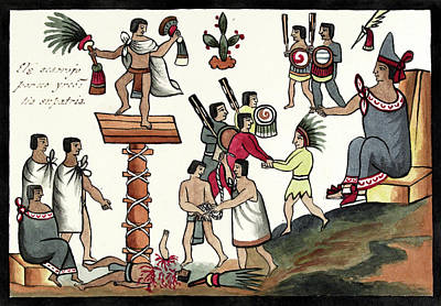 Sacrifice Of An Aztec Noble Print by Library Of Congress