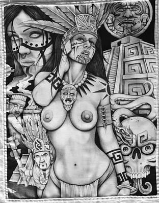Ancient Civilization Drawing - Sacrificial Season by Omar Boke