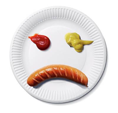Sad Food Face Print by Smetek