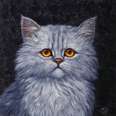 Gray Tabby Painting - Sad Kitty by Crista Forest