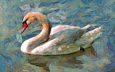 Sad Swan Print by Yury Malkov