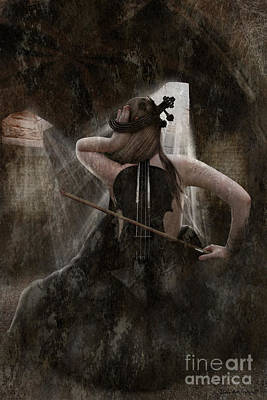 Violin Digital Art - Sad Violin by Babette Van den Berg
