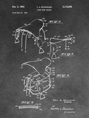 Saddle Patent Illustration Print by Dan Sproul