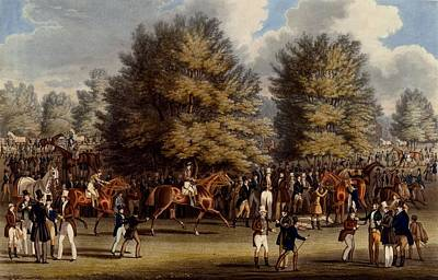 Race Horse Drawing - Saddling In The Warren, Print Made by James Pollard