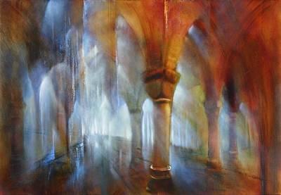 Church Pillars Painting - Saeulenhalle by Annette Schmucker