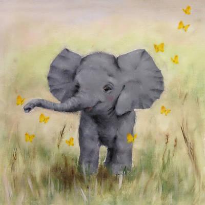 Safari Elephant Painting Nursery Art Print by Junko Van Norman