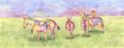 Zebra Painting - Safari Glory by Rhonda Leonard