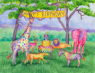 Baby Giraffe Painting - Safari Party by Rhonda Leonard