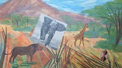 Dyptich Painting - Safari Scrapbook Right Panel by Scott Kingery