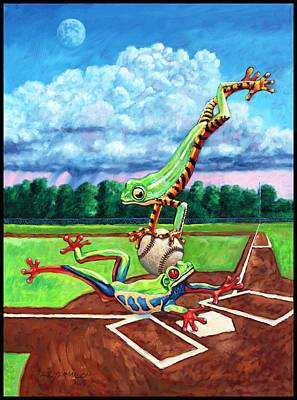 Safe At Home Plate? Original by John Lautermilch